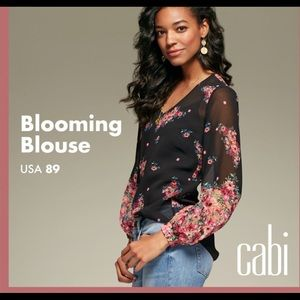 CAbi Blooming Floral Long Sleeve Blouse Size M